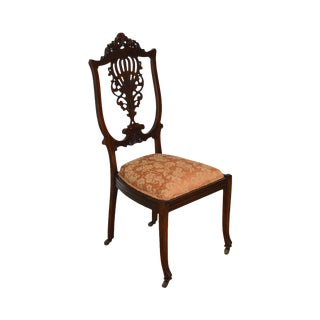 Antique Victorian Mahogany Pierced Carved Vanity or Desk Chair For Sale