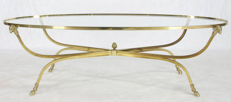 Large Oval Polished Brass Glass Top Coffee Table On Hoof Foot