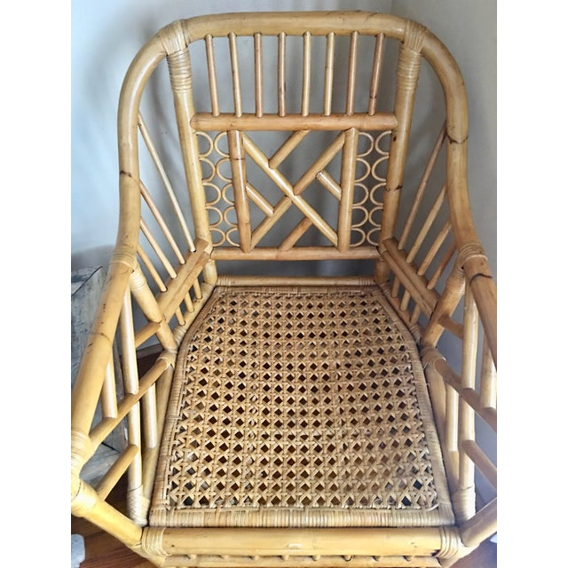 Vintage Mid Century Chinoiserie Brighton Pavilion Style Rattan & Cane Arm Chair For Sale In Los Angeles - Image 6 of 7