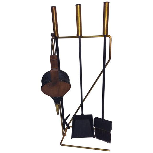 Metal Mid-Century Modern Brass and Black Iron Modernist Firetool Set For Sale - Image 7 of 7