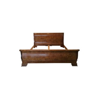 Henredon Charles X Burl Wood King Sleigh Bed