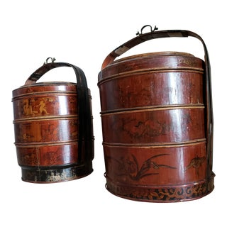 19th Century Asian Antique Wedding Baskets/Side Tables - a Pair For Sale