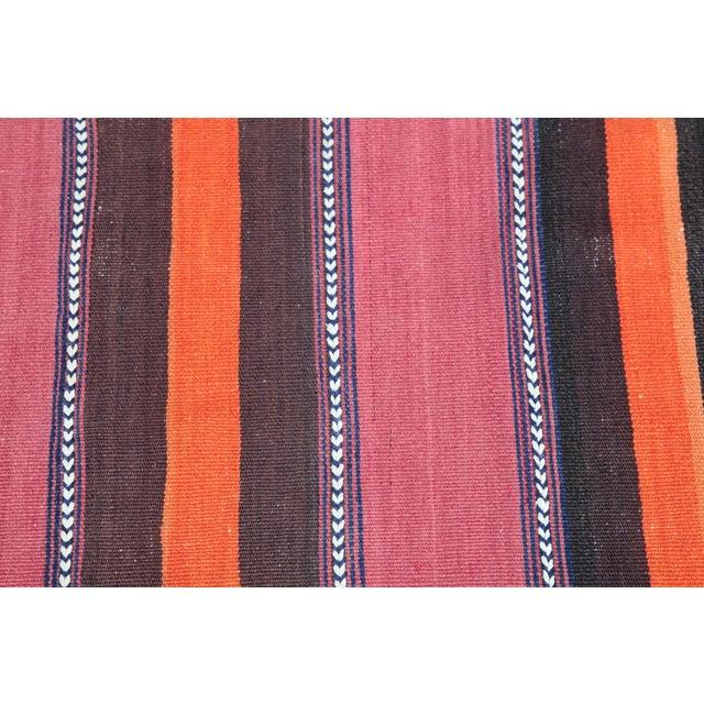 Turkish Floor Orange Stripe Kilim Rug - 4' x 2' 7'' - Image 9 of 11