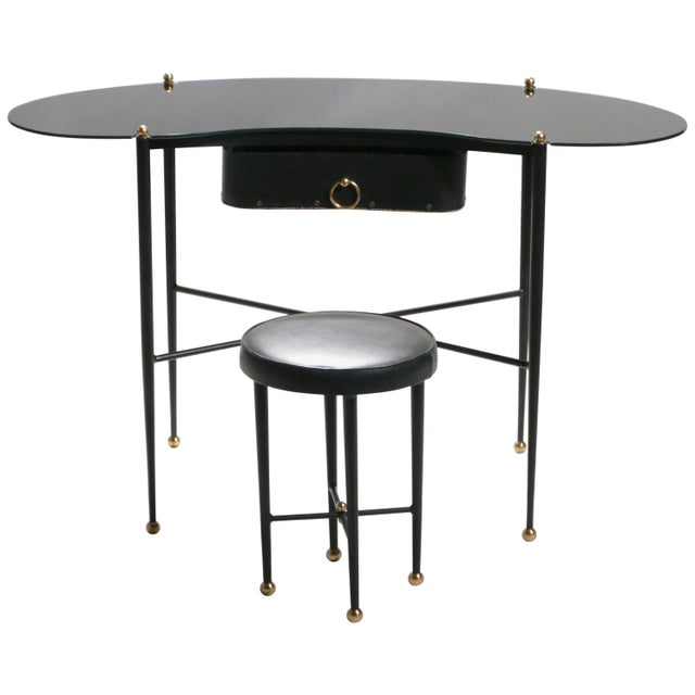 Jacques Adnet Leather Desk Vanity With Stool, 1940s For Sale - Image 13 of 13