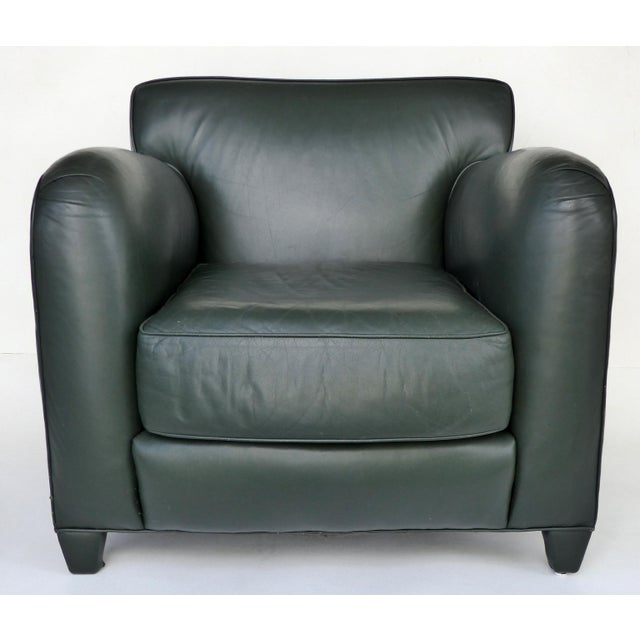 Donghia Leather Club Chairs from the Main Street Collection in Forest Green Offered for sale is a pair of Donghia forest...