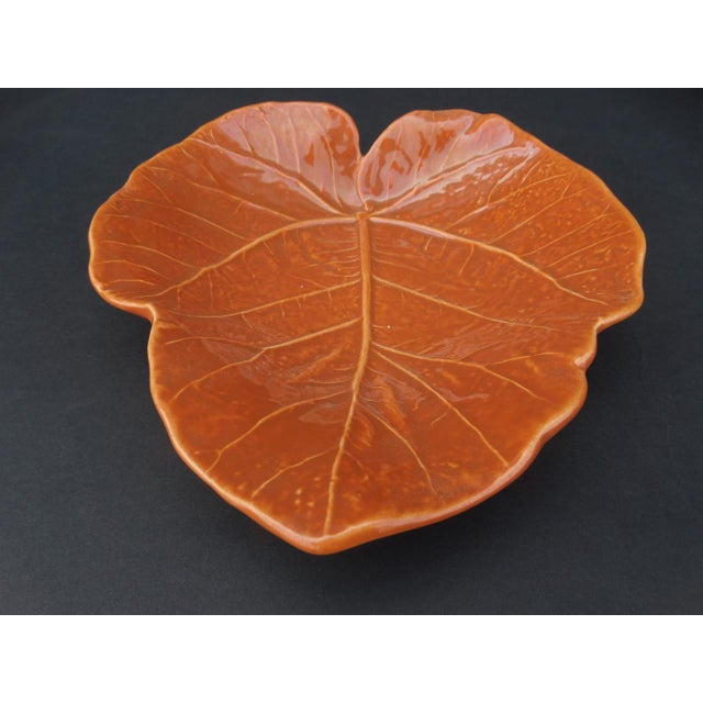 Orange Vintage Orange Newell Stevens Leaf Dish in Cantaloupe For Sale - Image 8 of 8