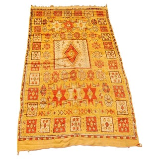 Moroccan Vintage Tribal Safran Organic Wool Rug For Sale