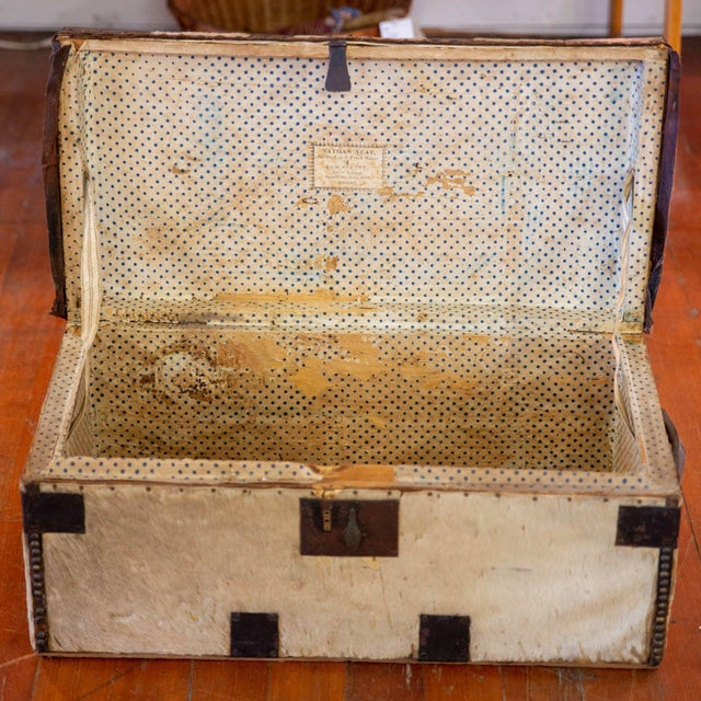 Cowhide Antique Cowhide Trunk with Initials DP For Sale - Image 7 of 9