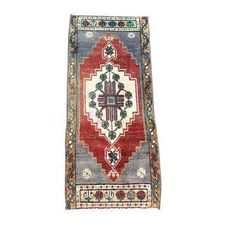 Antique Turkish Ethnic Handmade Door Mat Rug 1′4″ × 3′1″ For Sale
