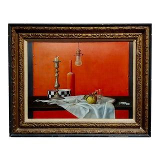 Proferio Grossi -Natura Morta 1965-Surrealist Still Life-Oil Painting For Sale
