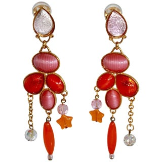 1990s Vintage Philippe Ferrandis Pink and Orange Statement Clip Earrings For Sale