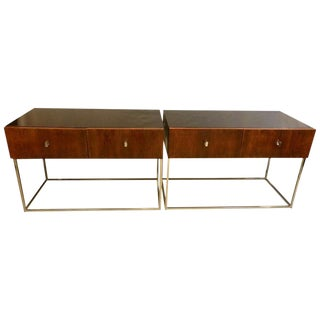 Pair of Mid-Century Modern Rougier Ebony Rosewood Tables, Commodes, Nightstands For Sale