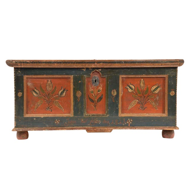 19th Century Scandinavian Polychrome Painted Trunk For Sale