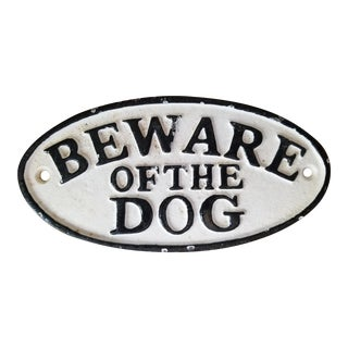 1990s Cast Iron Beware of the Dog Sign For Sale