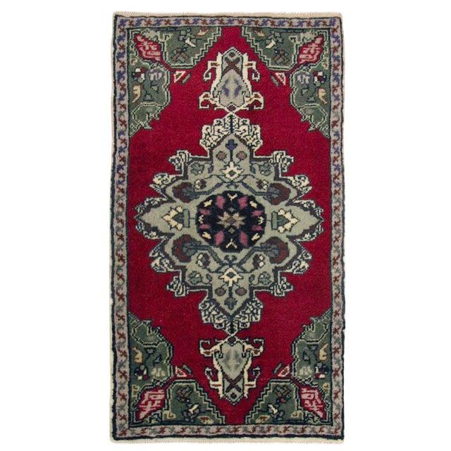 Vintage Turkish Floral Yastik Carpet - 1′7″ × 2′11″ For Sale