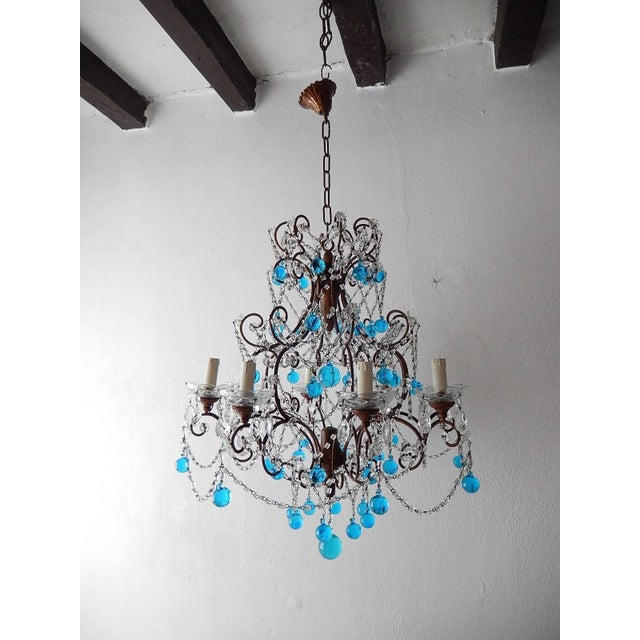 French Blue Murano Balls Beaded Swags Chandelier, circa 1900 For Sale - Image 4 of 13