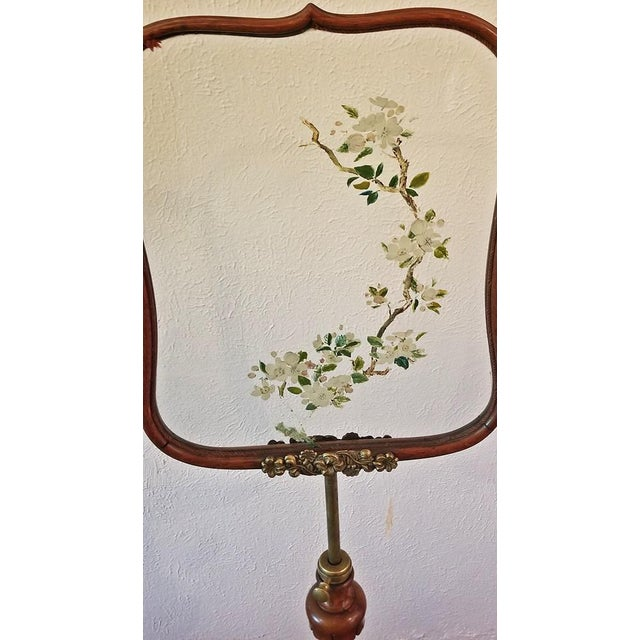 19c Telescopic or Extendable Tripod Based Fire Screen - Walnut With Hand Painted Glass For Sale - Image 10 of 13