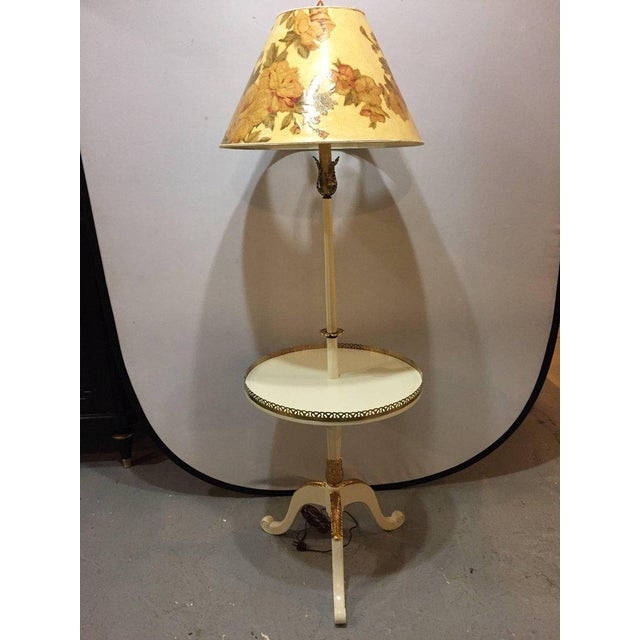 Off-White and Gilt Gold Paint Decorated Floor Lamp with Tray Table and Custom Shade For Sale - Image 9 of 10