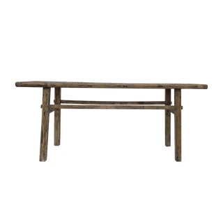 Rustic Reclaimed Elm Wood Console Table For Sale