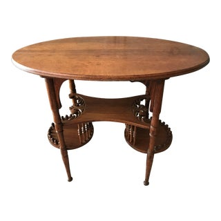 Antique Tiered Oval Spindle Table For Sale