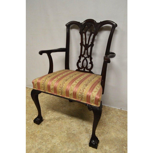 Wood Solid Mahogany Chippendale Style Dining Chairs Ball & Claw Feet - Set of 6 For Sale - Image 7 of 11