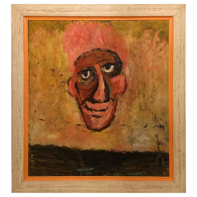 """""""The Nose"""" Framed Oil on Masonite Painting For Sale"""