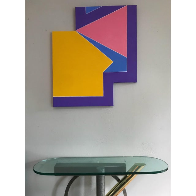 Original shaped canvas abstract painting in the style of Frank Stella and the hard edge abstract movement of the mid 20th...
