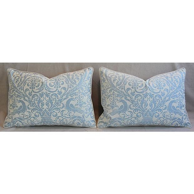 Fortuny Custom Tailored Italian Fortuny Uccelli Feather/Down Pillows - A Pair For Sale - Image 4 of 11
