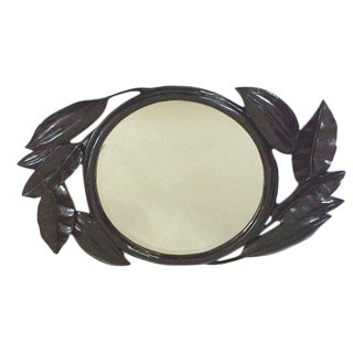 Vintage Oversized Palm Leaf Mirror Giant Wall Entryway or Console Mirror - 54 Inch For Sale