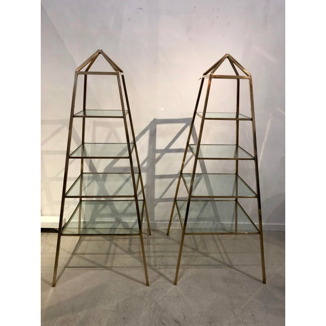 1960s Brass Italian Obelisk Shaped Etageres - a Pair For Sale - Image 12 of 12