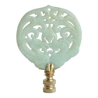 Cream Chinoiserie Stone Lamp Finial on Brass Hardware For Sale