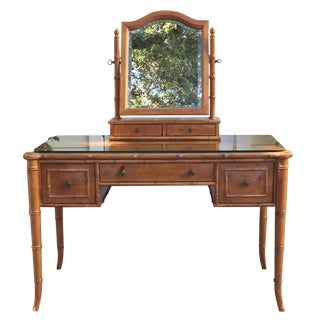 Vintage Ethan Allen Chinoiserie Faux Bamboo Vanity Desk Mirror & Bench For Sale