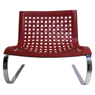 Italian O'Mies Red Leather & Chrome Slipper Chair For Sale