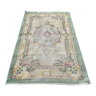1960s Vintage Turkish Handmade Oushak Carpet Traditional Anatolian Rug- 3′4″ × 6′8″ For Sale