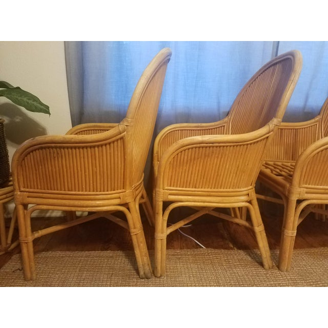 Palm Beach Pencil Reed Rattan Dining Chairs - Set of 4 For Sale - Image 10 of 10
