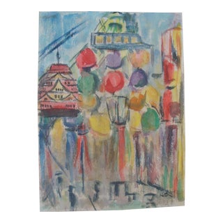 Abstract Mid-Century Modern Painting Festival Street Scene Watercolor For Sale