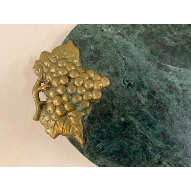 Traditional 1990s Green Marble Footed Serving Board With a Brass Grapes Detail For Sale - Image 3 of 5