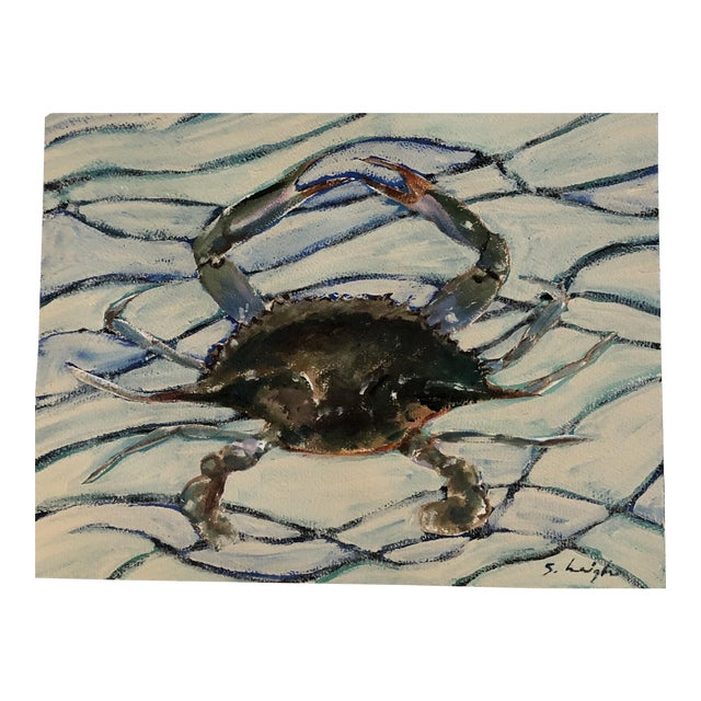 Original Blue Crab Painting by Philadelphia Illustrator Stephen Heigh