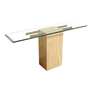 Mid Century Modern Italian Travertine Brass Glass Console Table by Artedi 1970's For Sale