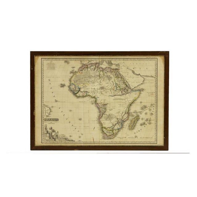Italian Framed Printed and Hand Colored Map of Africa For Sale - Image 13 of 13