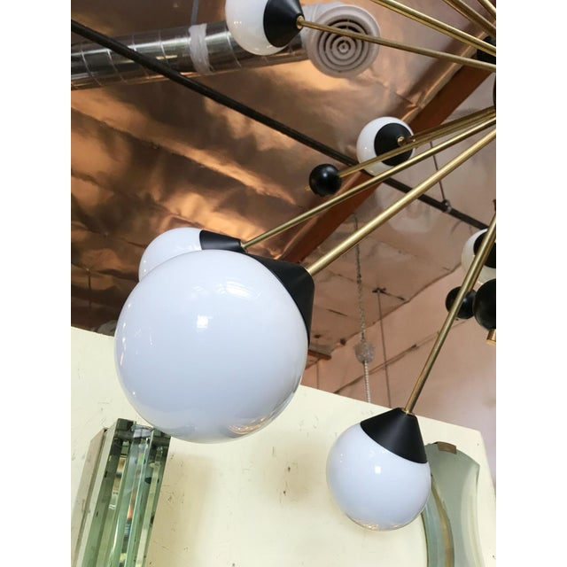 1960s 1960s Brass With White and Black Orbs Midcentury Sputnik Chandelier For Sale - Image 5 of 6