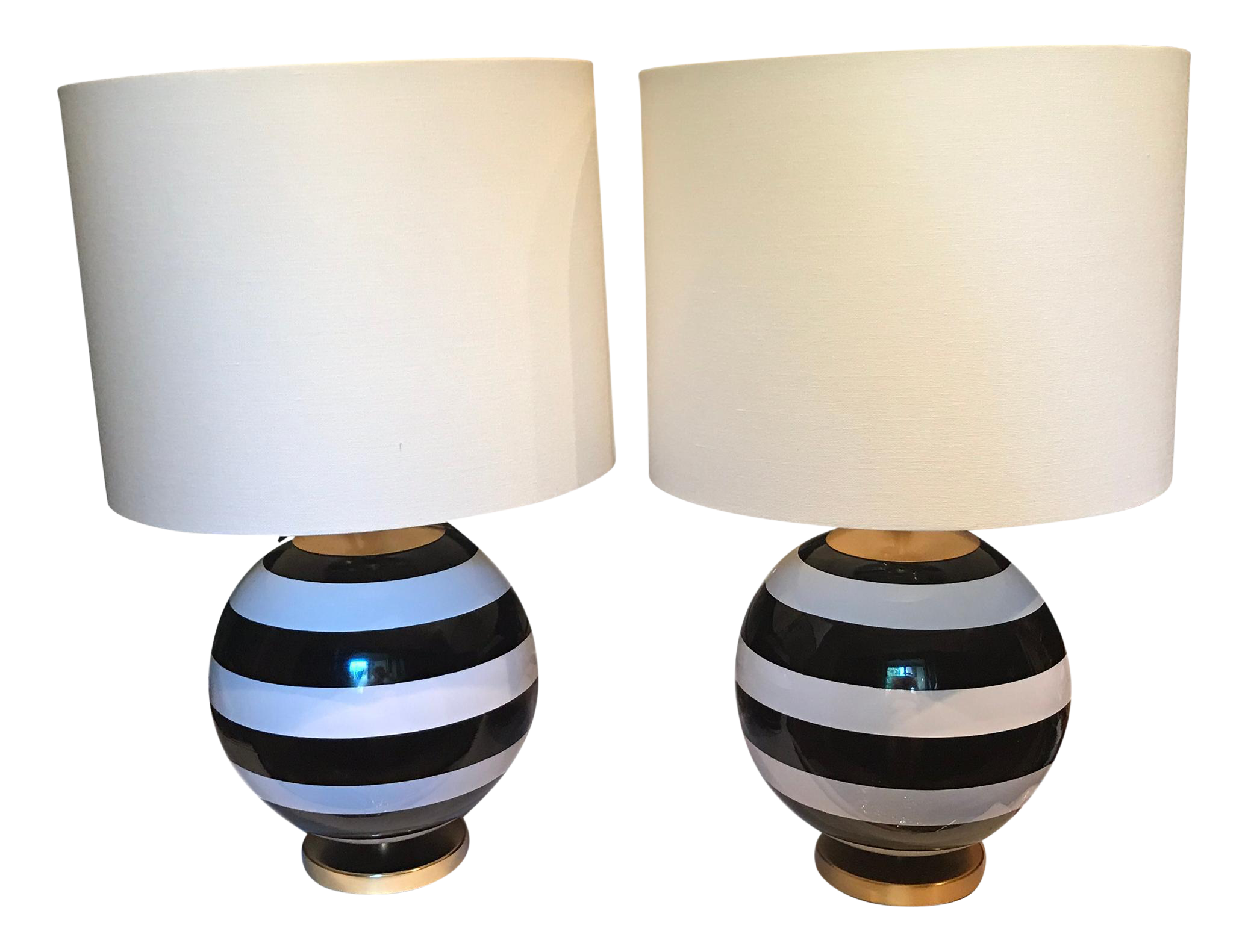kate spade lamp diy kate spade black white striped pedestal globe table lamp pair