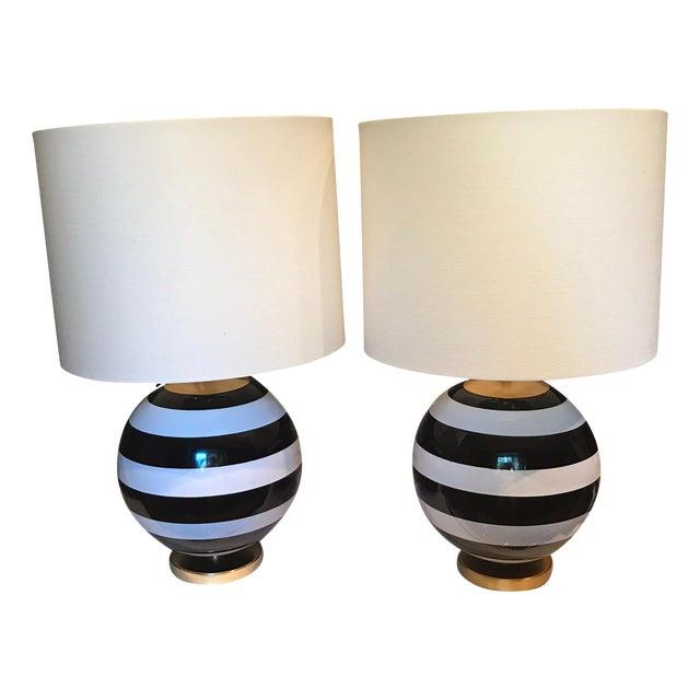 Kate Spade Black & White Striped Pedestal Globe Table Lamp - A Pair For Sale