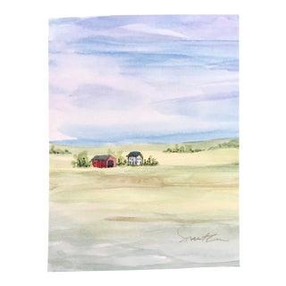 "Nancy Smith Original ""Rural"" Miniature Watercolor Painting For Sale"