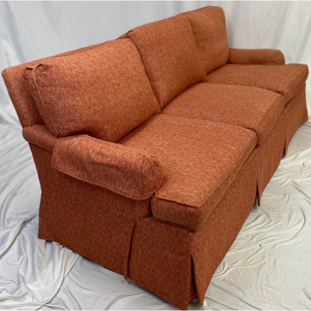 Hickory Chair Furniture Company Hickory Chair Dressmaker Sofa With Red Textured Upholstery For Sale - Image 4 of 7