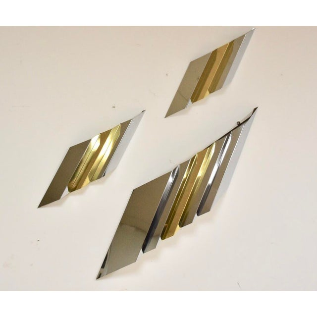 Modern Chrome and Brass Wall Art For Sale - Image 9 of 9