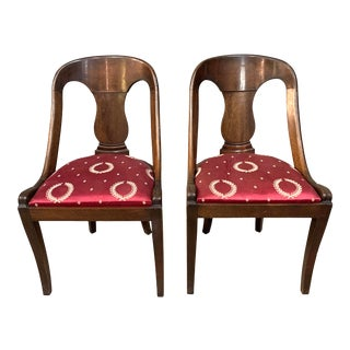 Late 19th Century French Empire Style Chairs With Red Silk Upholstered Seat - a Pair For Sale