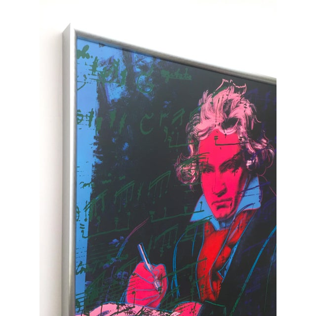 """Andy Warhol Andy Warhol Foundation Vintage 1992 Lithograph Print Framed Pop Art Poster """" Beethoven """" 1987 For Sale - Image 4 of 13"""