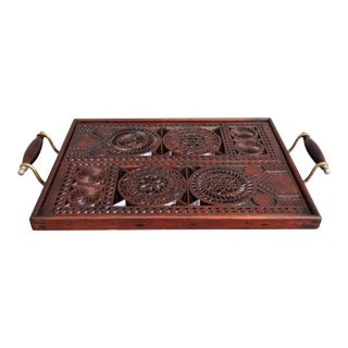 English Carved Mahogany Serving Tray For Sale