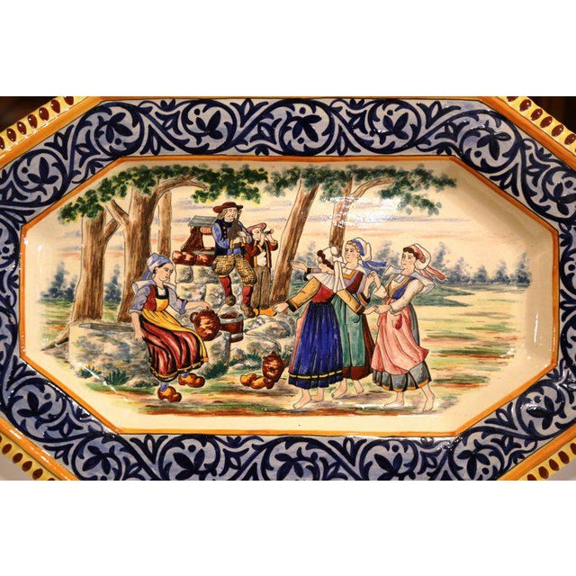 French Large 19th Century French Hand-Painted Ceramic Platter From Henriot Quimper For Sale - Image 3 of 7